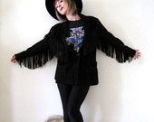 BIG ASS SALE vintage black suede fringe jacket coat western outlaw goth rockabilly boho size M