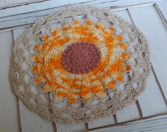 Vintage Doily Sunflower Autumn Romantic Cottage Chic Kitchen Home Decor