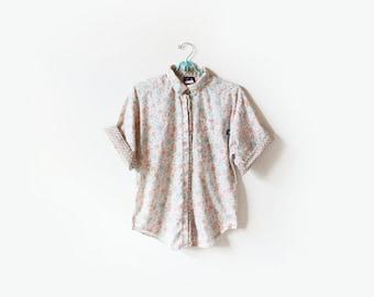 vintage blouse 80's shirt pastel floral print contrast mixed 1980's women's clothing size m medium