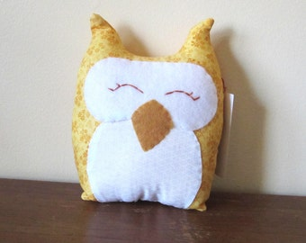 Handmade Yellow Owl Decorative Pillow - bright colors - nursery decor - yellow and white - hand-stitched - gingham - ooak - soft sculpture