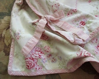 standard floral sham with ties  -  cotton, pink roses