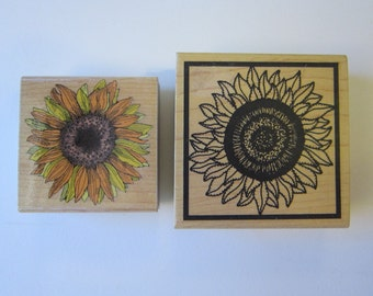 2 rubber stamps - SUNFLOWER rubber stamps