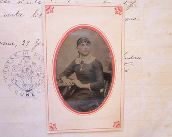 antique tintype photo in paper frame - circa 1870, civil war era, woman with necklace, sitter - tt587