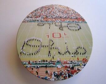 vintage OSU collectible tin - cookie tin - Ohio State Buckeyes - circa 1970s