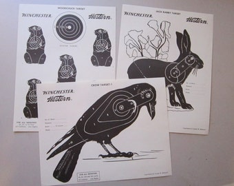 3 vintage WINCHESTER paper targets - crow, jack rabbit, and woodchuck - Winchester Western