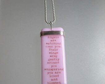"""Guardian Angel, Breast Cancer, Angels, Pink Power, Story Pendants, fused glass on 16"""" sterling silver ball chain"""