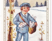 Whitney Made - Antique Christmas Postcard - Christmas Postcards, Christmas Cards, Mailmen, Gifts, Presents, Whitney Postcards, Ephemera