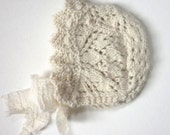LACE KNIT BONNET Ivory Lacey Vintage Scalloped Baby Girl Hat Cream Soft Luxurious Retro Victorian Newborn Baptism Gift