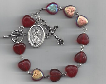 Red Heart Beads Rosary Bracelet - Our Lady of Guadalupe Saint Medal featured!  Free Domestic Shipping!