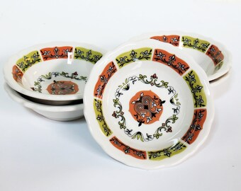 Syracuse China Restaurant Ware Mid Century Coral n' Jade Berry Bowls Set of 5