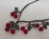Red Crochet Cherry Necklace With Green Leaves, Red Coral Necklace,Cherry Necklace, Coral Necklace Statement Necklace, Fruit Necklace