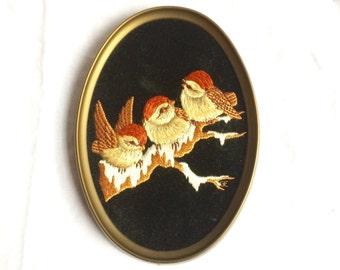 Oval framed Birds embroired art