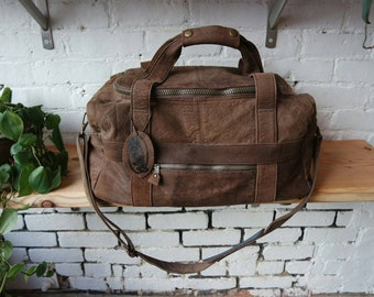 90s Brown Leather Large Duffel Bag