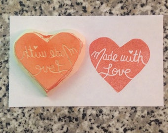Made With Love Stamp - Handmade, rubber stamp