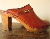 70s slip on leather clogs - thick wooden heels - rust colored leather with decorative leather strap