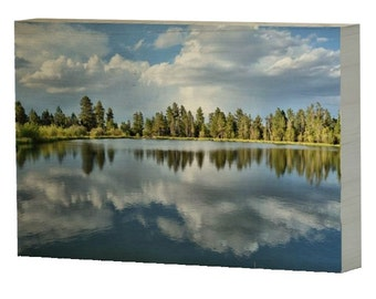 Lake and Pines Reflection Landscape 8 x 12 Photo Wood Wrap Photo Print, Fine Art Photo