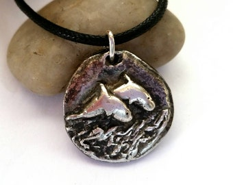 Dolphin Porpoise Necklace, Silver, .999 Fine Recycled Silver, Hand Carved