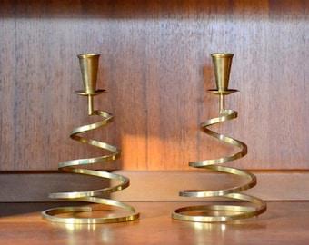 vintage midcentury brass christmas tree candle stick holders / holiday decor / woodland winter