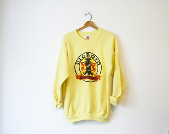 Vintage Yellow Giorgio Beverly Hills Designer Bootleg Knock Off Sweatshirt