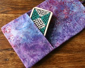 tarot deck bag oracle card wrap around pouch water color purple blue batik leaves -ready to ship-