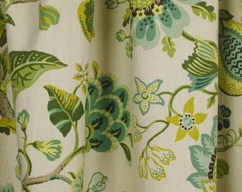 St. Thomas Parrot Floral Green Blue Cotton Fabric