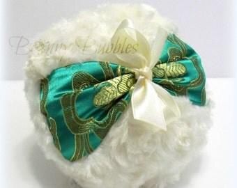 GREEN Brocade Powder Puff - emerald green satin brocade, ivory cream plush - gift box option - big pouf - by Bonny Bubbles