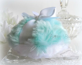 Aqua Blue Powder Puff - robins egg blue and white - plush bath pouf - ultra soft aqua bleu - gift box option - by Bonny Bubbles