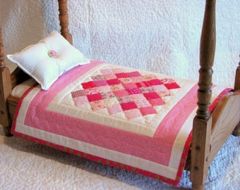 """Doll Quilt - American Girl and other 15""""-18"""" Dolls - Gotz - Sasha - Madame Alexander - Maplelea - Doll Blanket - Baby Pink-White-Fuscia-Pink"""