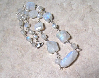 Chunky Rainbow Moonstone Necklace, Blue Flash Moonstone, Sterling Silver, Hand Wire Wrapped, Moonstone Jewelry, White Stone Necklace