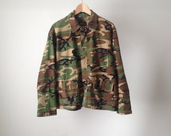 vintage FADED 80s military CAMO olive green camouflage jacket coat SUPER soft worn in