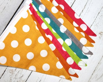 Polka Dot Banner - Fabric Bunting - Yellow - Orange - Pink - Green - Blue - Gray - Polka Dot Birthday Banner
