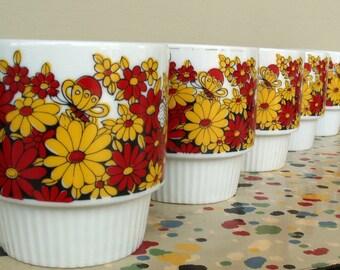 5 Vintage Floral Coffee Mugs