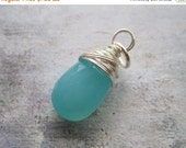 20% OFF ON SALE Aqua Blue Chalcedony  Sterling Silver Wire Wrapped Briolette Dangle, 1 pc, Gemstone Pendant