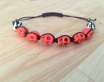 Mens Beaded Bracelet- Halloween Jewelry- Shamballa Bracelet- Skull Bracelet- Magnesite