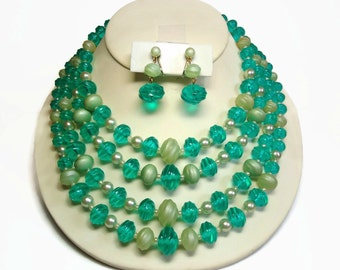 4 Strand Beaded Bib Necklace & Drop Earrings in Capri Sea Green, Frosted Lucite Beads with Pearl Accents - Vintage 50's Costume Jewelry Sets