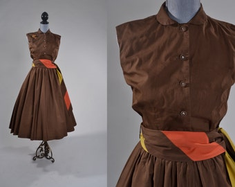 Vintage 1950s Cotton Dress Set - Brown Skirt Top Belt - Lily Montez Fashions