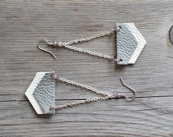 Grey and white Geometric Leather Earrings