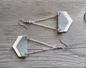 Grey and white leather earrings, Dangle Earrings, boho tribal earrings, Minimalist Jewelry, Unique Gift for Her