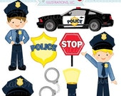 SALE Police Kids Cute Digital Clipart - Commercial Use OK - Police Clipart, Police Graphics, Handcuffs, Police Car