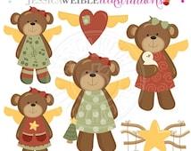 SALE Christmas Bear Angels Digital Clipart - Commercial Use OK - Christmas Bear Graphics, Angel Bear Clipart