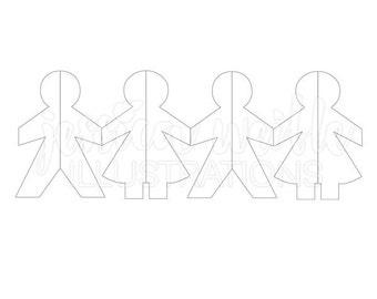 Chain of Paper Dolls Cute Digital Clipart, Paper Doll Clip art, Craft Paper Doll Graphics, Doll Paper Chain Illustration, #076