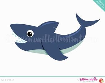 Instant Download Cute Fun Shark Digital Clipart Clip Art Ocean Animal Graphics