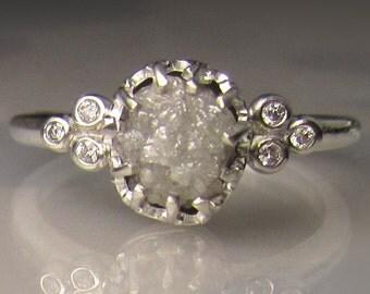Raw Diamond Engagement Ring, Rough Diamond Ring, Rough Uncut Conflict Free Diamond 1.65cts - sz 6.75