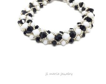black & white swarovski crystal bracelet . crystal . stripe  . silver . black . white .