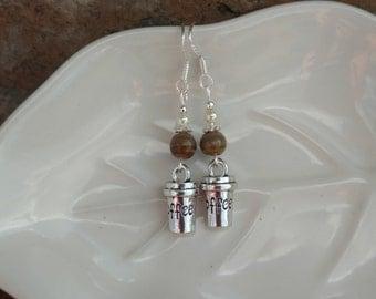Coffee and Cream Earrings, Coffee Sterling Silver Earrings, Coffee Earrings, Coffee and Cream Sterling Earrings