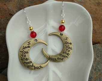 Red and Gold I Love You To The Moon and Back Sterling Silver Earrings, Gold Red Moon Earrings, Red Gold I Love You Earrings