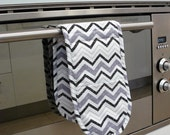Double Oven Mitt - grey white and black chevron zig zag