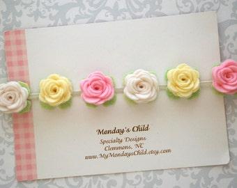 Felt Flower Crown, Baby Flower Crown, Felt Flower Garland Headband, Felt Flower Headband, Flower Garland, Newborn/Toddler/Baby Headband