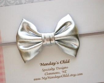 Silver Bow Headband, Silver Headband, Silver Baby Headband, Silver Bow, Silver Baby Bow, Baby Headband, Toddler Bow, Newborn Headband