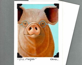 Pig Card - Pig - Funny Pig Card - Funny Pig Art  - Card for Pig Lover - 10% Benefits Animal Rescue